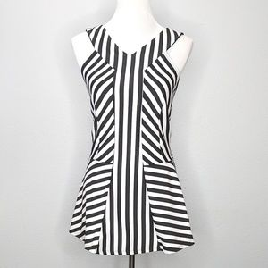Torrid black white stripe peplum top sz 2 NWOT
